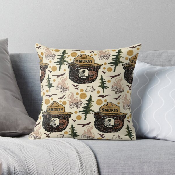 Retro Smokey bear pattern Throw Pillow