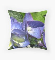 Blue Lacecap Hydrangea Macro Throw Pillow