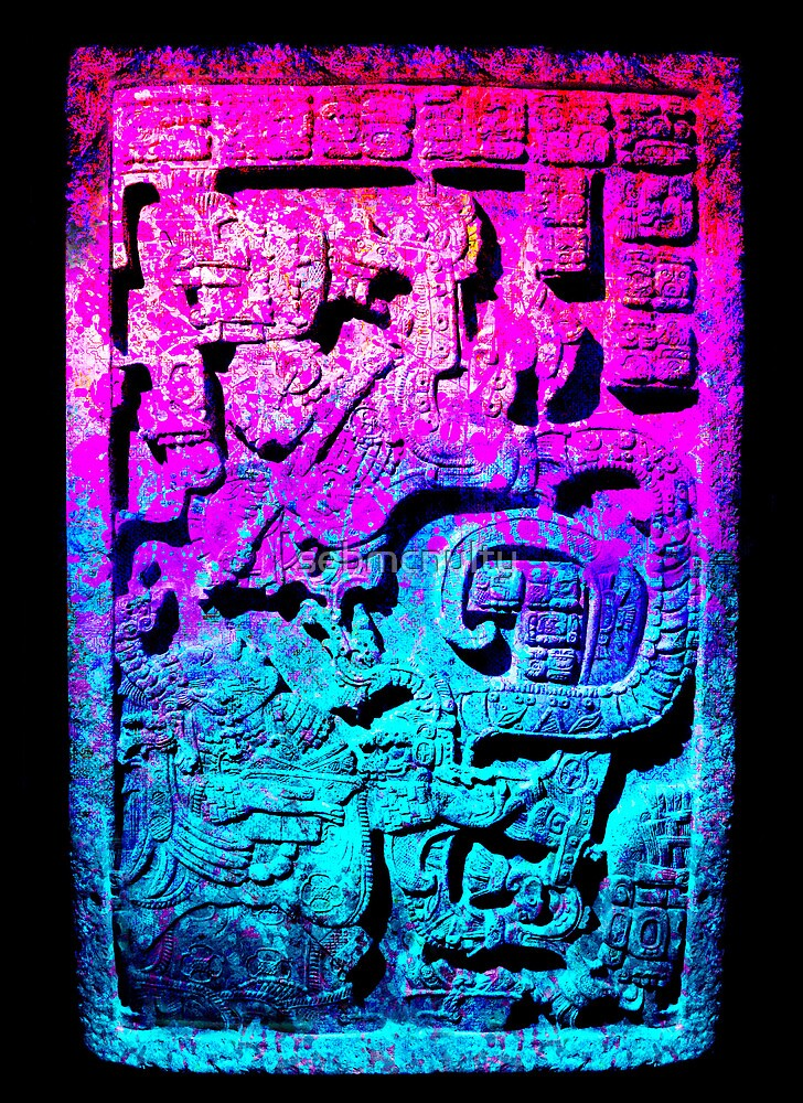Aztec city  in cyan Colors by sebmcnulty