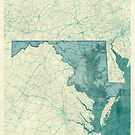 Maryland Map Blue Vintage by HubertRoguski