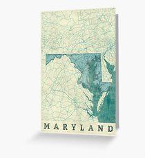 Maryland Map Blue Vintage Greeting Card