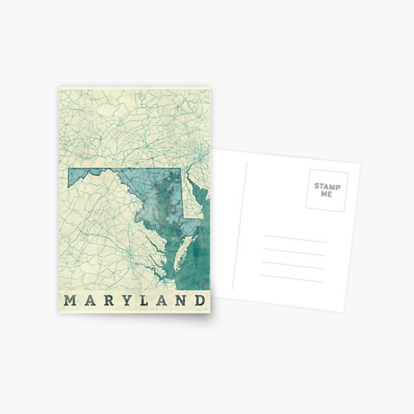 Maryland Map Blue Vintage Postcard