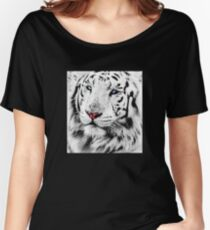 White Tiger Portrait Women's Relaxed Fit T-Shirt