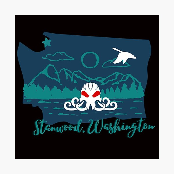 STC Logo Stanwood with Snow Goose Photographic Print