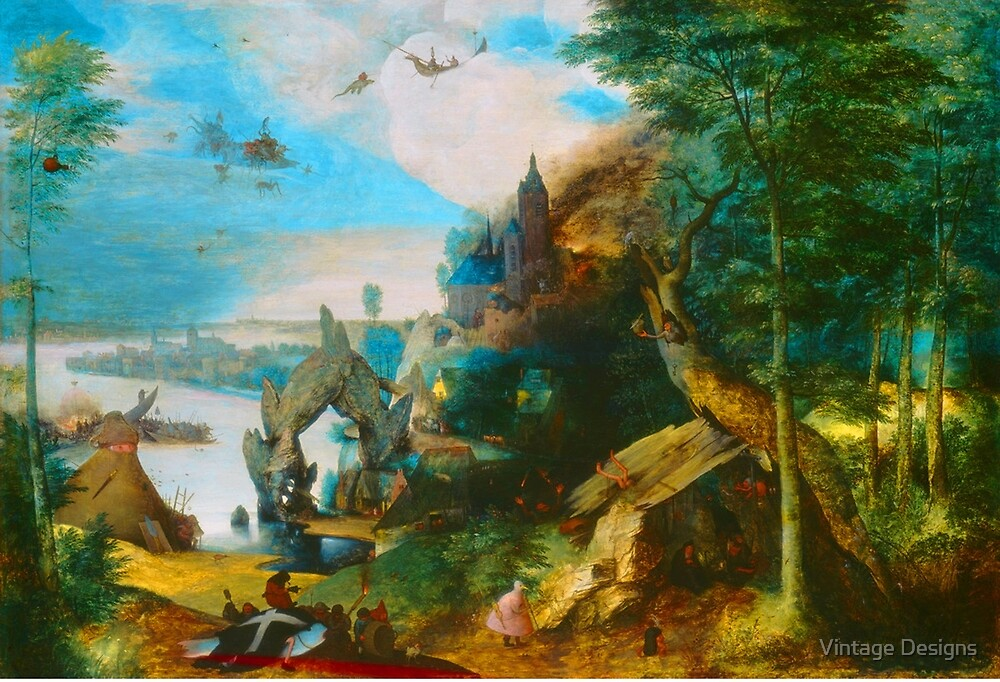 Medieval fantasy landscape painting by Vintage Designs