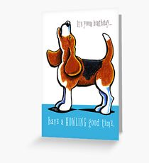 Beagle Howling Funny Birthday Greeting Card