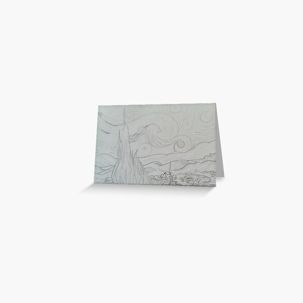 Drawing of Starry Night by Vincent Van Gogh Greeting Card