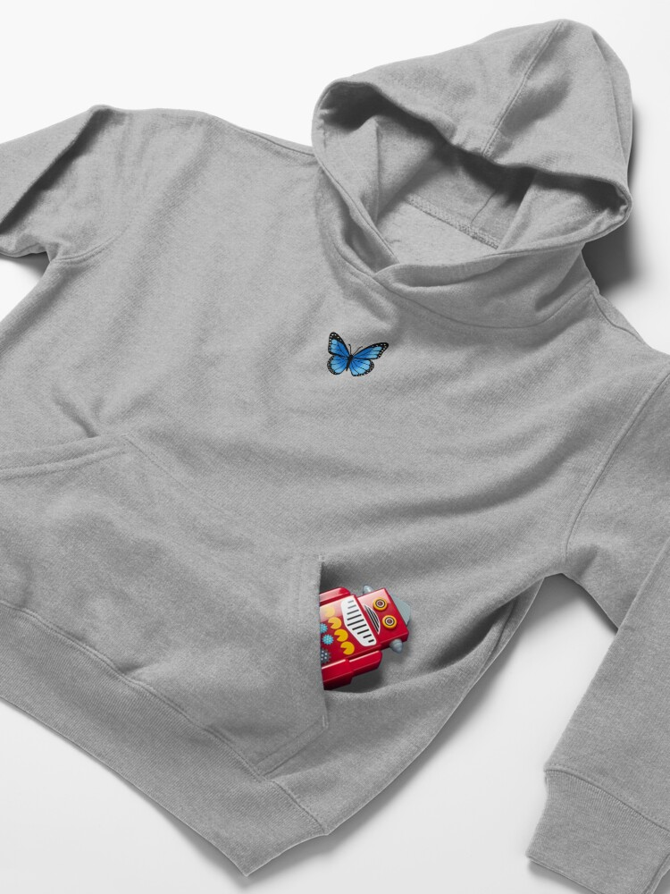 Alternate view of Blue Butterfly Kids Pullover Hoodie