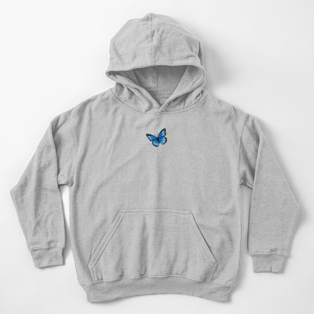 Blue Butterfly Kids Pullover Hoodie