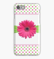 gerbera daisy flower hot pink green polka dot ribbon iPhone Case/Skin