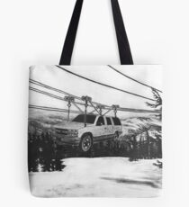 SUV Ski Lift Tote Bag