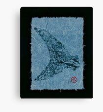 Mako Tail on Pale Blue Unryu Paper Canvas Print