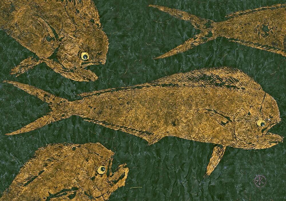 Mahi Mahi on Black w/ Gold Thread Unryu Paper by IslandFishPrint