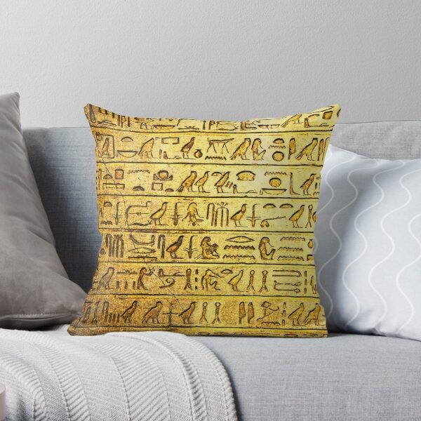 Hiéroglyphes égyptiens antiques Jaune Coussin