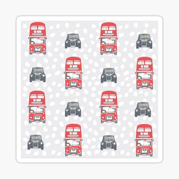 London Bus and London Taxi on a grey spot background Sticker