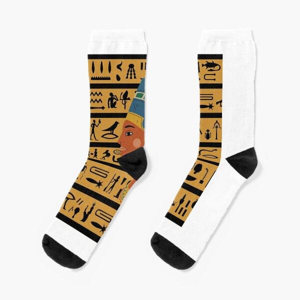 US 8-11 MENS EGYPTIAN NEFERTITI EGYPTOLOGY ART SOCKS UK SIZE 6-10 EUR 39-45