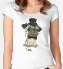 Pug; Gentle Pug (v3) Women's Fitted Scoop T-Shirt