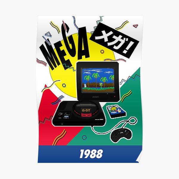 Mega Drive 1988 16bit Retro Gaming Poster - Pixel Art Original by Pixel Vixen Poster