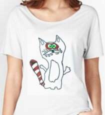 Mr Raccoon the Cool Cartoon Comic Friend Women's Relaxed Fit T-Shirt