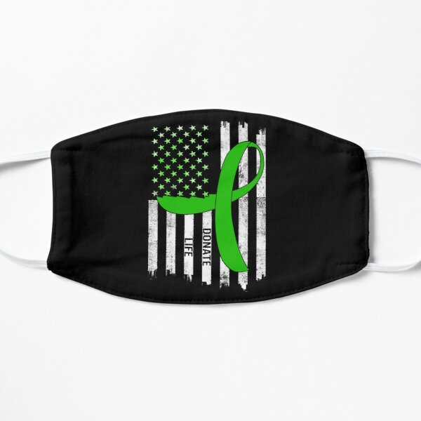 Donate Life USA American Flag Transplant Organ Transplantation Awareness Heart Green Ribbon Gift Mask