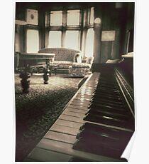 The Professor's Piano - Sepia Poster