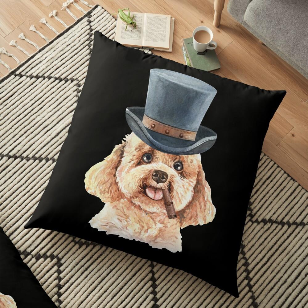 Watercolor  Poodle Top Hat Floor Pillow