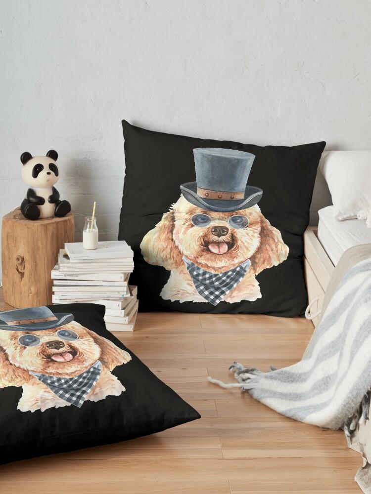Alternate view of Watercolor  Poodle Top Hat Floor Pillow