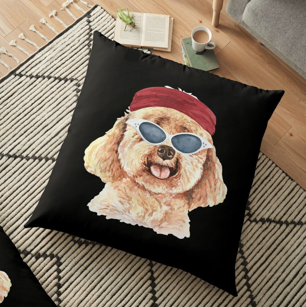 Watercolor  Poodle shades,gym,exercise, Floor Pillow