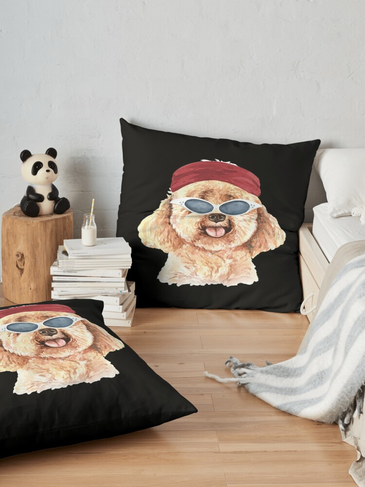 Alternate view of Watercolor  Poodle shades,gym,exercise, Floor Pillow