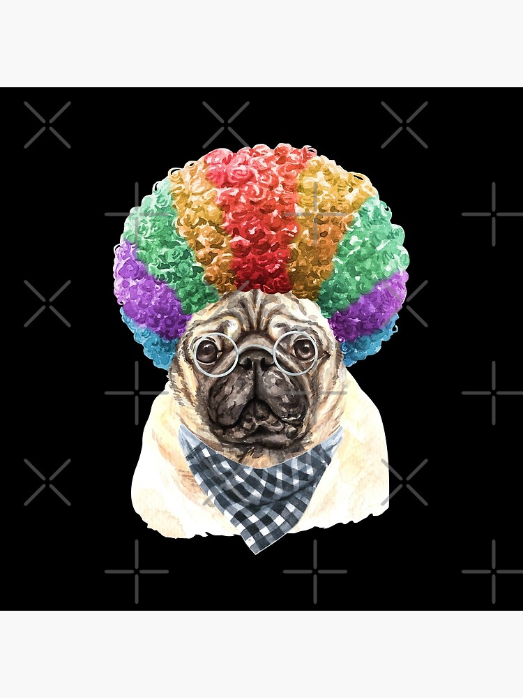 Watercolor  Pug Clown by dog-gifts