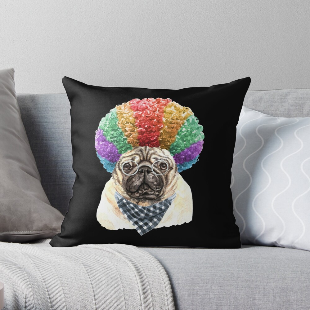 Watercolor  Pug Clown Throw Pillow