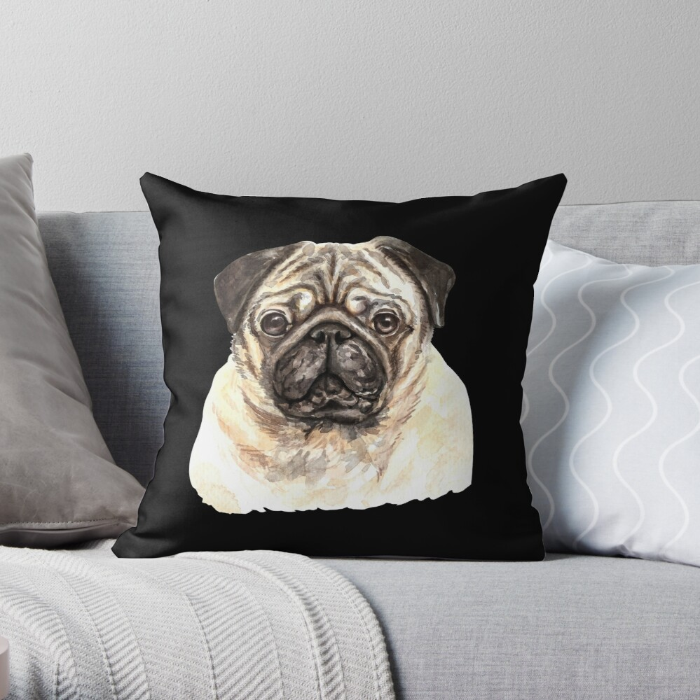 Watercolor  Pug Dog Throw Pillow