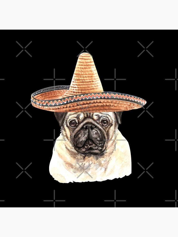Watercolor  Pug Mexican Sombrero Hat by dog-gifts