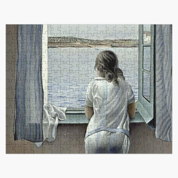 WOMAN IN THE WINDOW : Vintage 1925 Dali Painting Print Jigsaw Puzzle