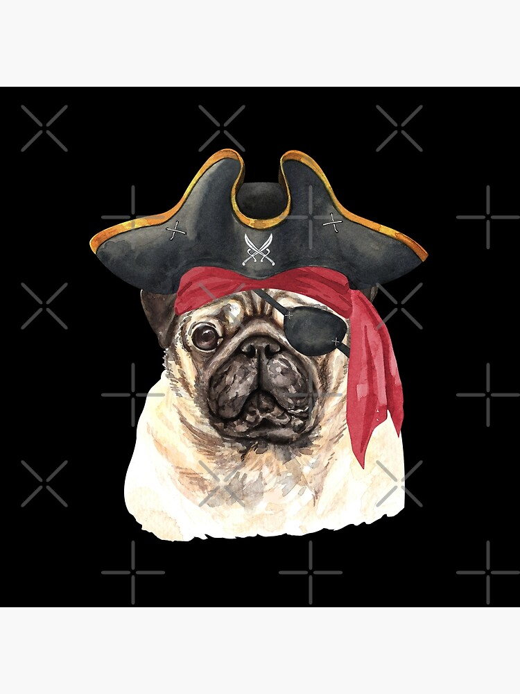 Watercolor  Pug Pirate Hat Eye Patch by dog-gifts