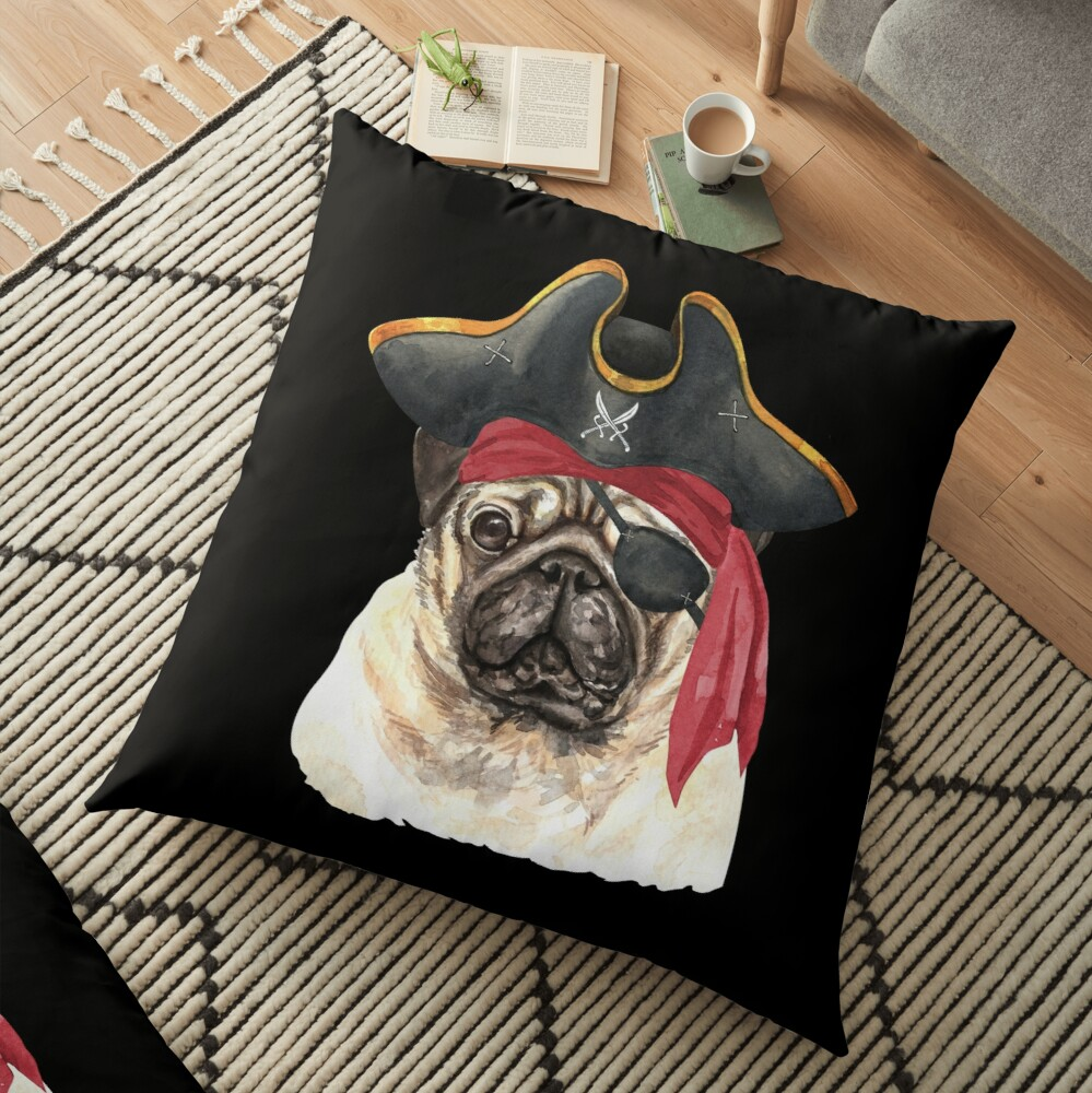 Watercolor  Pug Pirate Hat Eye Patch Floor Pillow