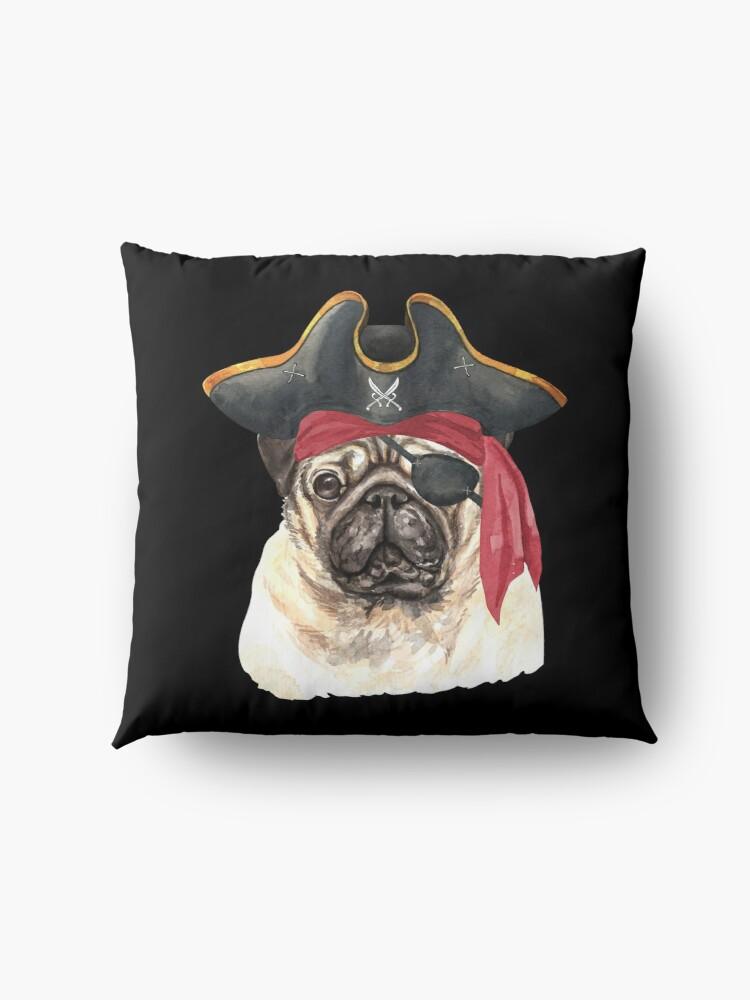 Alternate view of Watercolor  Pug Pirate Hat Eye Patch Floor Pillow
