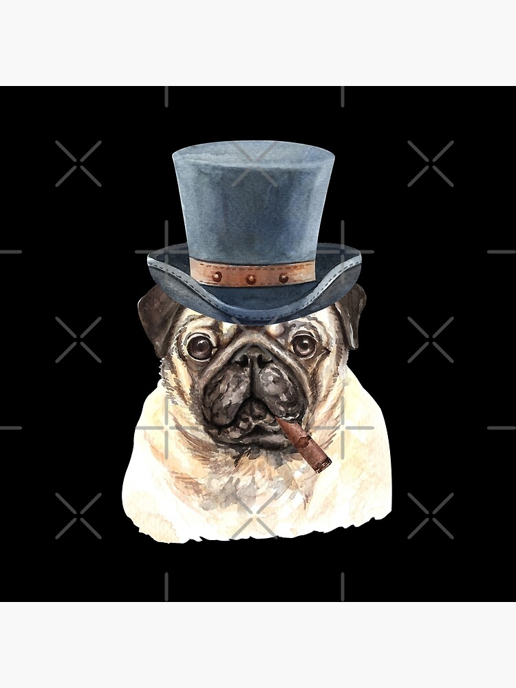 Watercolor  Pug Top Hat by dog-gifts