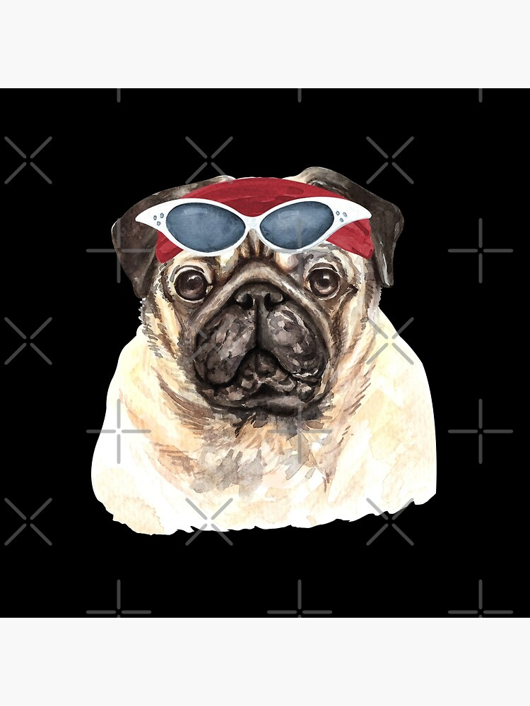 Watercolor  Pug shades,gym,exercise, by dog-gifts