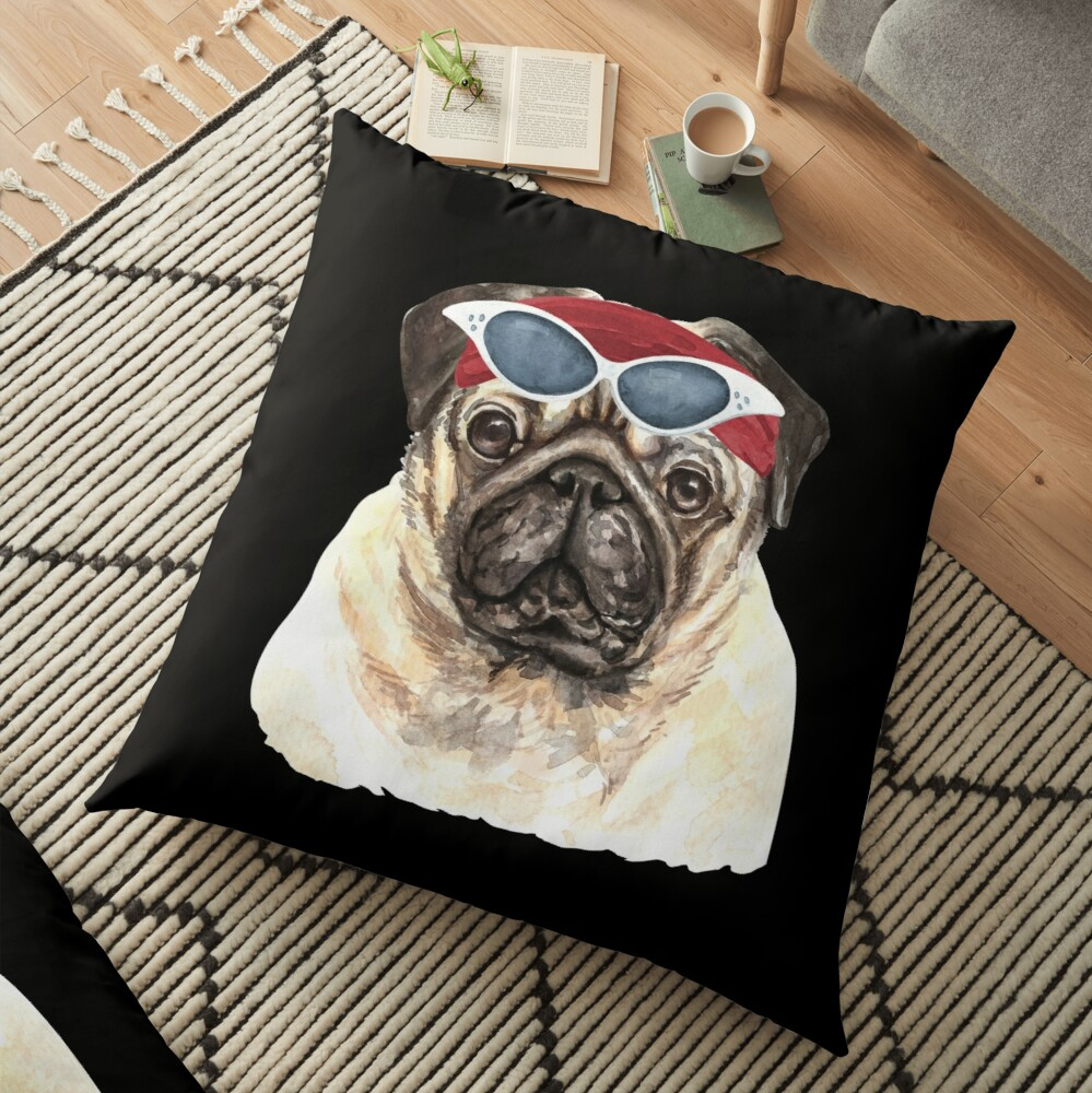 Watercolor  Pug shades,gym,exercise, Floor Pillow