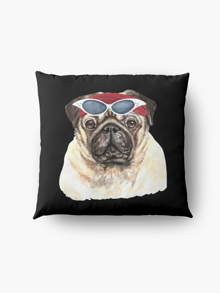 Alternate view of Watercolor  Pug shades,gym,exercise, Floor Pillow