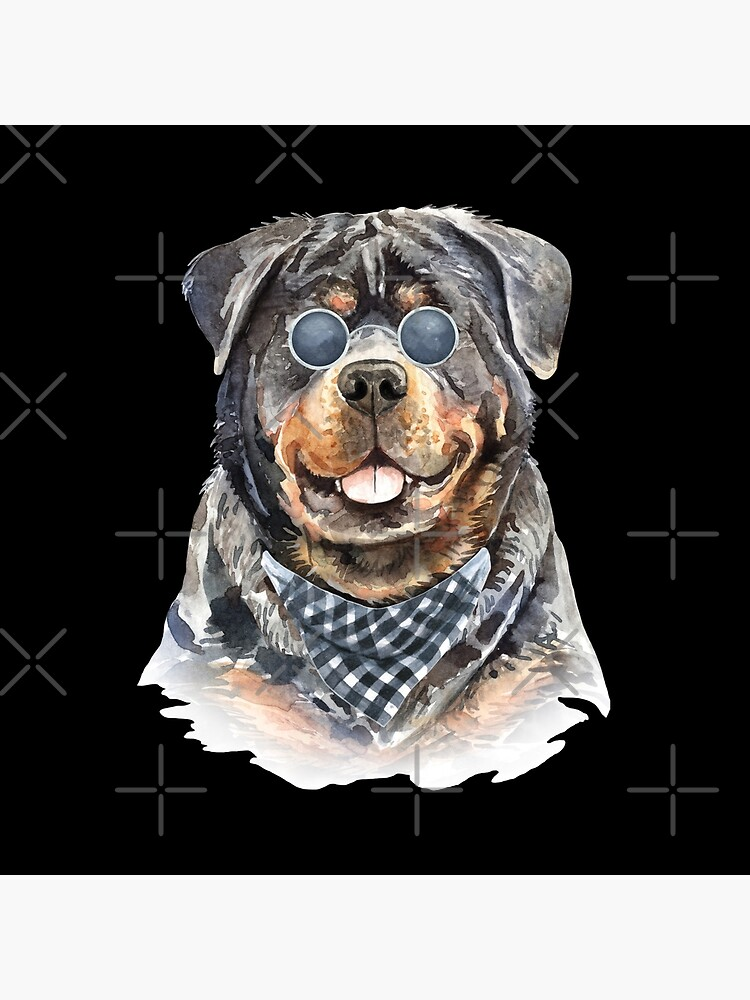Watercolor  Rottweiler Cool Biker by dog-gifts