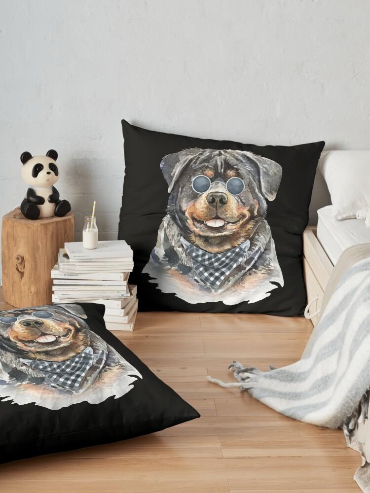 Alternate view of Watercolor  Rottweiler Cool Biker Floor Pillow