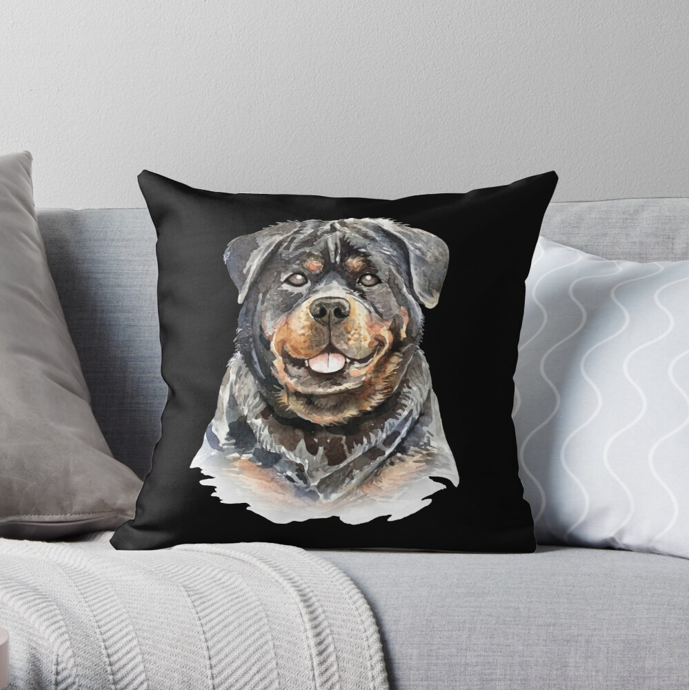 Watercolor  Rottweiler Dog Throw Pillow