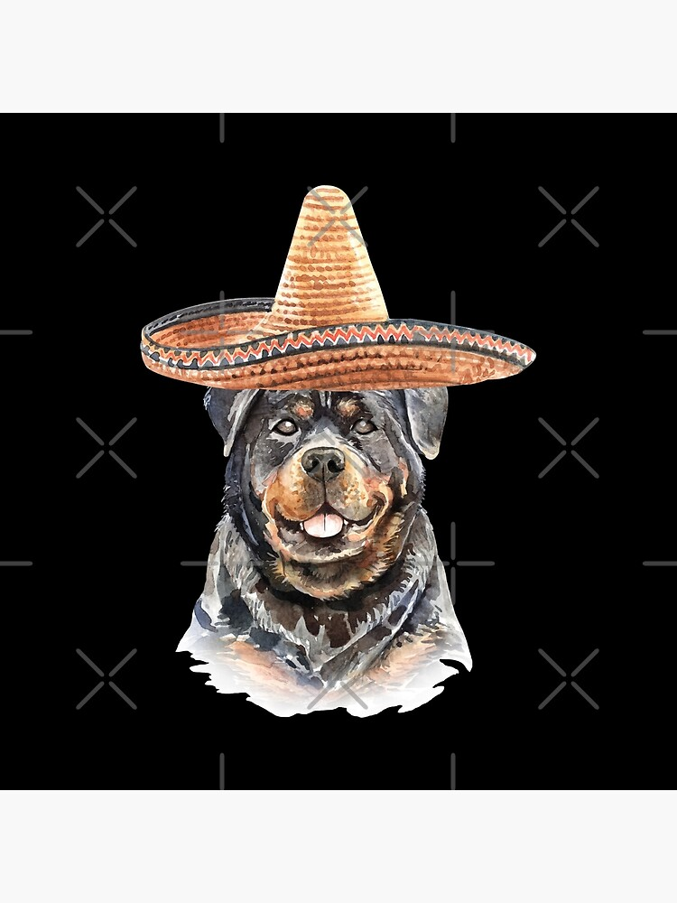 Watercolor  Rottweiler Mexican Sombrero Hat by dog-gifts