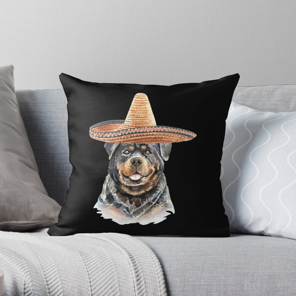 Watercolor  Rottweiler Mexican Sombrero Hat Throw Pillow