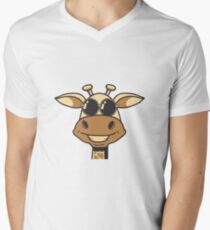 Sunglasses giraffe cartoon funny cool Men's V-Neck T-Shirt