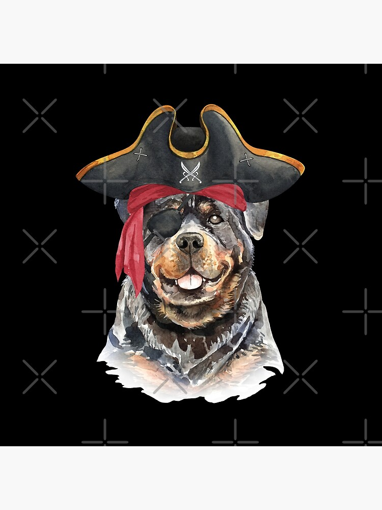 Watercolor  Rottweiler Pirate Hat Eye Patch by dog-gifts