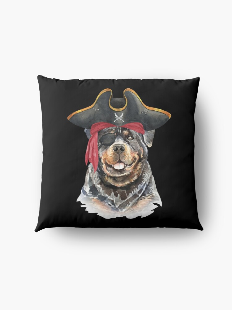 Alternate view of Watercolor  Rottweiler Pirate Hat Eye Patch Floor Pillow
