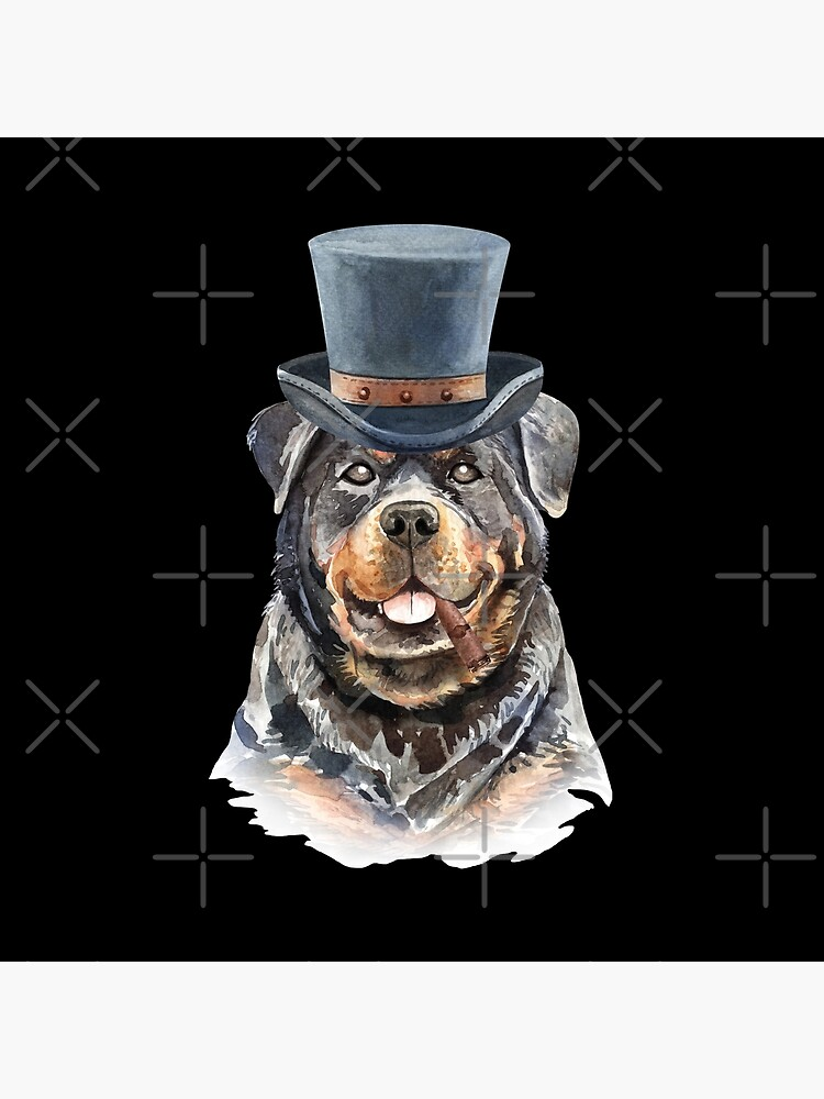 Watercolor  Rottweiler Top Hat by dog-gifts